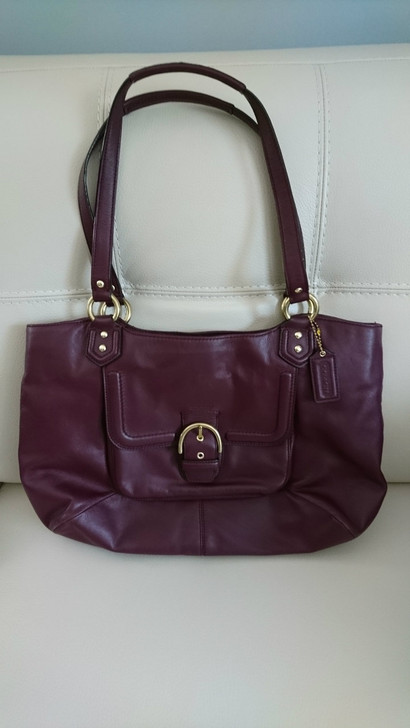 Coach - Shoulder Bag - Women's Handbag - Large - Burgundy - Pre-Owned