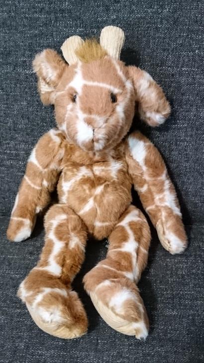 "Giraffe - Stuffed Animal - Godfrey - Russ Berrie Co. - Bean Bag Plush - Corduroy Accents - 15"" - Pre-Owned"