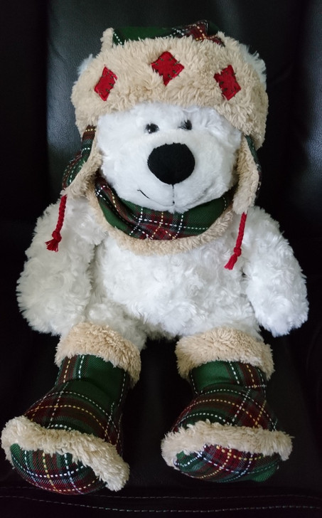 Blue Big Teddy Bear, Teddy Bear Stuffed Animal White Fluffy Bear In Plaid Boots Hat And Scarf Hugfun Intl Pre Owned Treasure Website