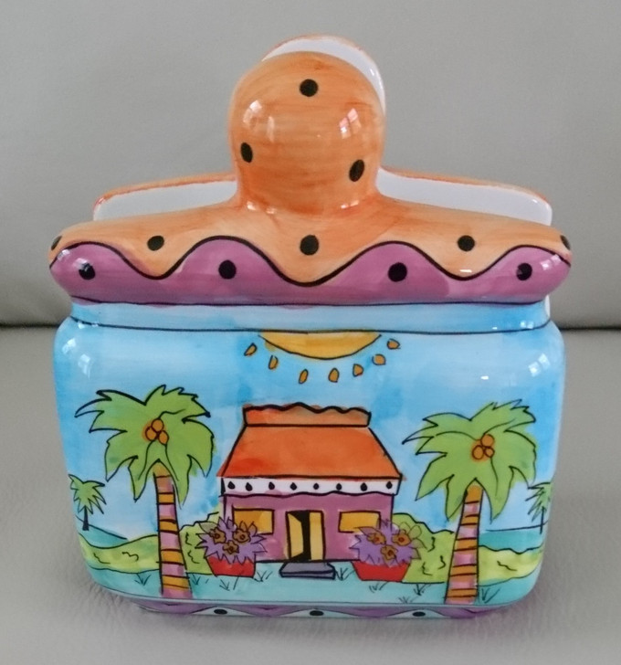 Napkin Holder - Island House Beach Design - Colorful - Ceramic - Pre-Owned