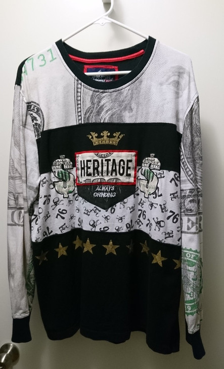 Mens Heritage by America 1776 LS Shirt Pullover Tag: 2XL *Actual Size: L*  - Pre-Owned
