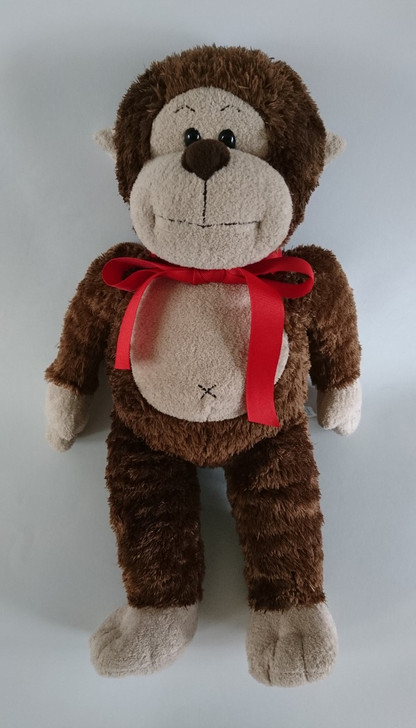 """Build A Bear Monkey Brown with Red Ribbon Plush - 18"""" - Pre-Owned"""