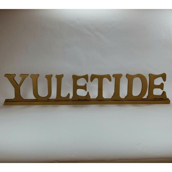 """Wood Carved Lettering Sign Gold Yuletide 36"""" L"""