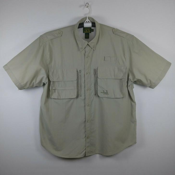 Cabela's Guidewear Fishing Shirt Khaki Men's XL S/S