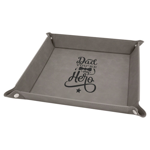 """Leatherette Snap Up Tray - 6"""" x 6"""""""