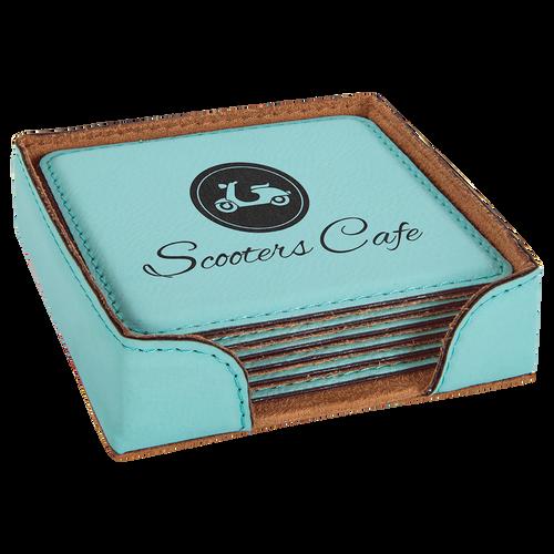 Square Leatherette 6 - Coasters Set