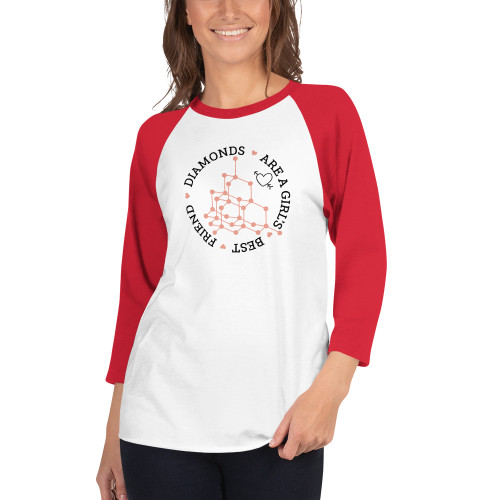 Diamonds are a Girl's Best Friend Circle - 3/4 sleeve raglan shirt