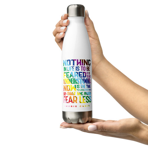 Curie PRIDE Striped Quote Stainless Steel Water Bottle