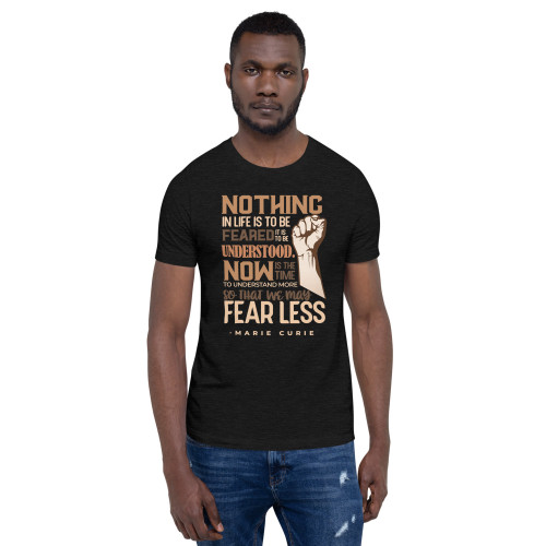 Curie Quote with Brown Words Short-Sleeve Unisex T-Shirt