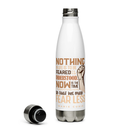 Curie Quote with Brown Words Stainless Steel Water Bottle
