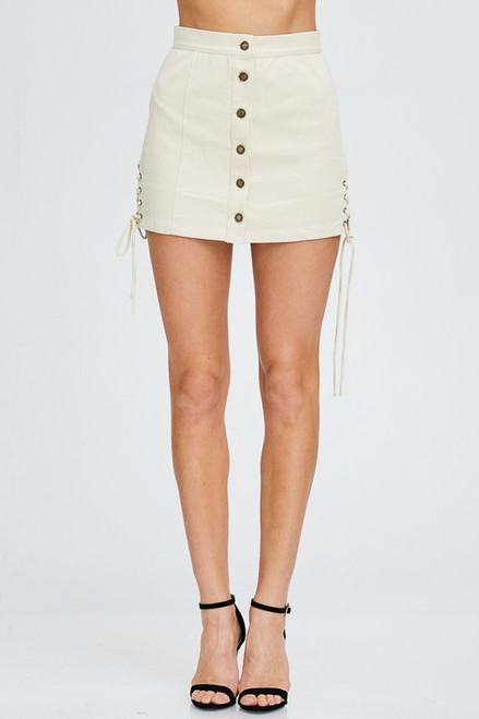 Eyelet Button Down Mini Skirt