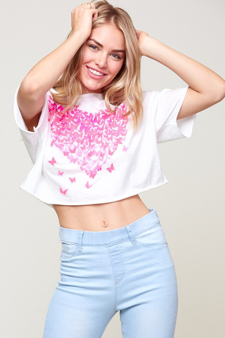 Butterly Heart Graphic Crop Top