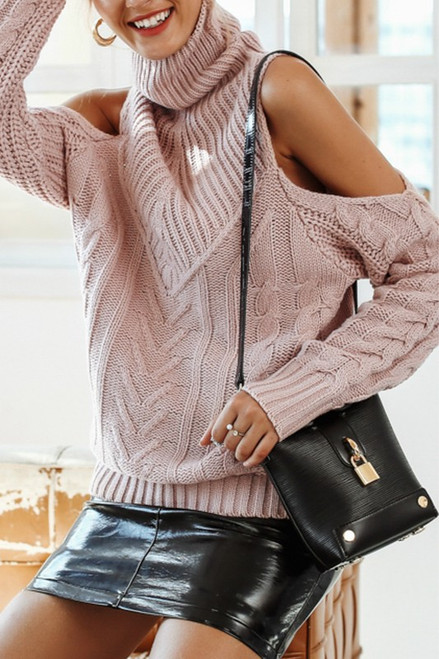 Turtle Neck Cold Shoulder Sweater