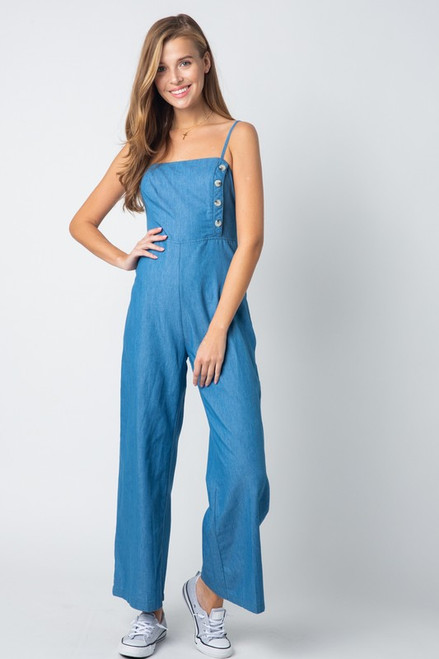 Button Denim Jumpsuit