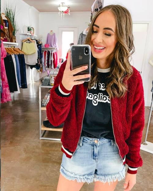 Burgundy Faux Fur Fitted Bomber Jacket