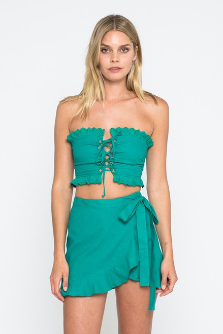 Solid Lace Up Tube Top