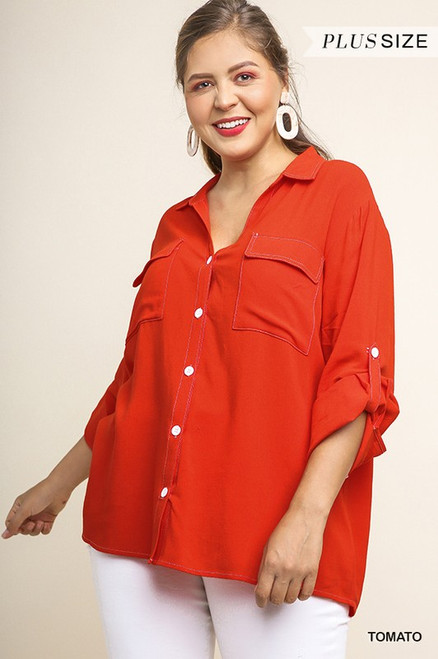 Tomato Button Up Collared Top (Curvy)