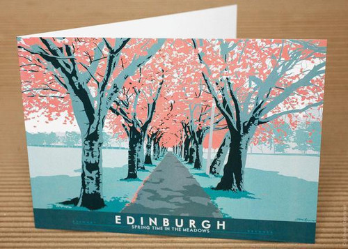 Stewart Bremner Edinburgh The Meadows Greetings Card Turquoise