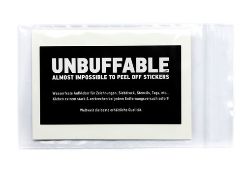Unbuffable 7x10cm Stickers 12 Pack