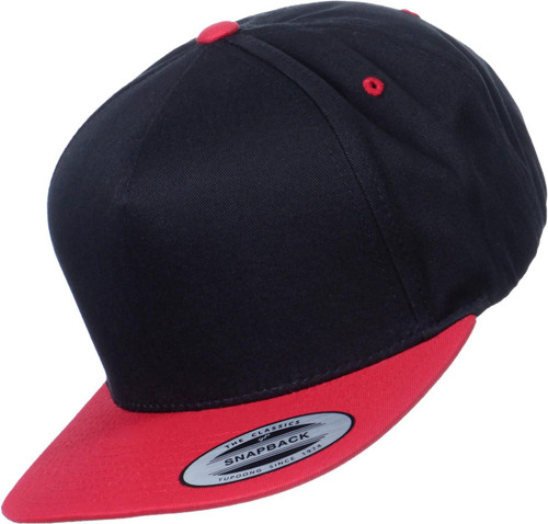 Flexfit 5-Panel Snapback Cap Black Red