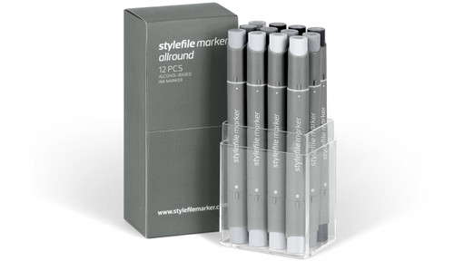 Stylefile Allround Marker 12 Set Neutral Grey