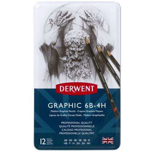 Derwent Graphic 6B-4H Medium Graphite Pencils 12 Set