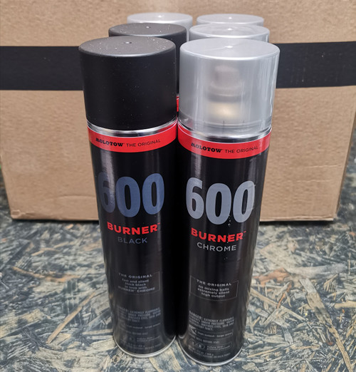Molotow Burner 600ml Chrome & Black Pack