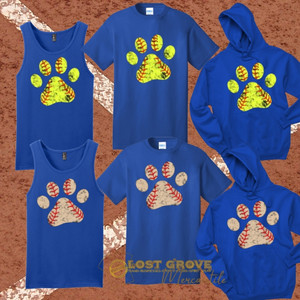 Softball/Baseball Paw Print Tees/Tanks/Hoodies