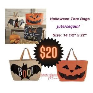 Jute/Sequin Halloween Tote Bag