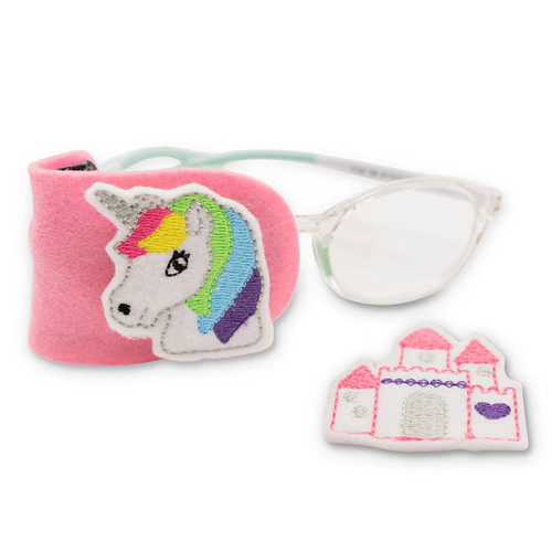 Pink felt eye patch with unicorn and castle decorations