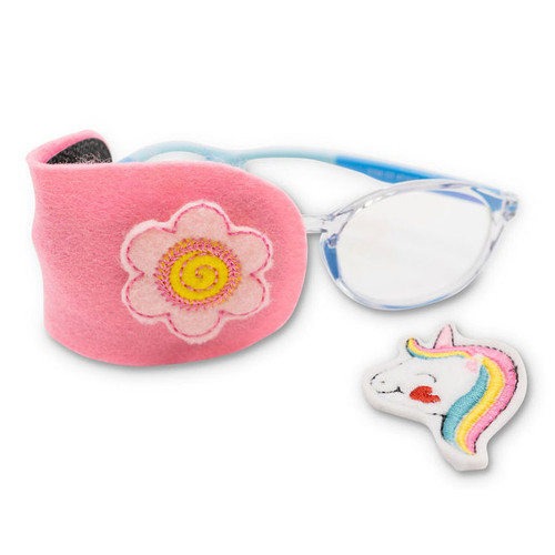 Pink felt eye patch with unicorn and flower decorations