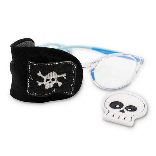 Black felt patch with skull and pirate flag decorations