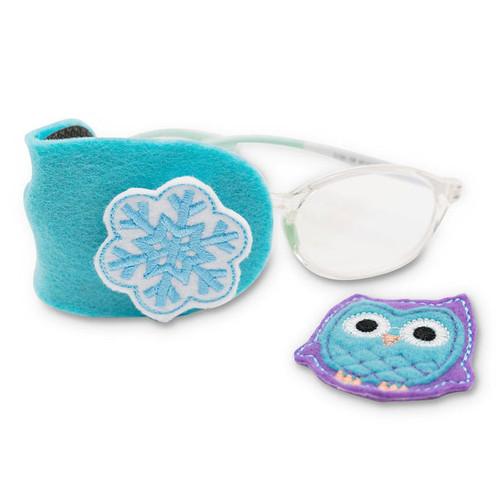 Owl and snowflake on aqua felt patch
