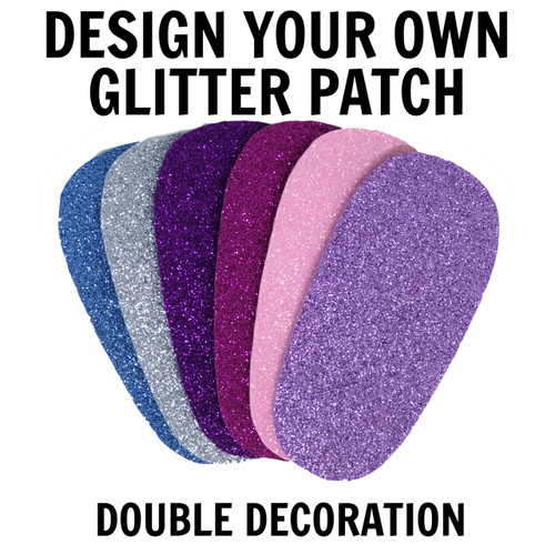 Design your own glitter fabric patch with two decorations