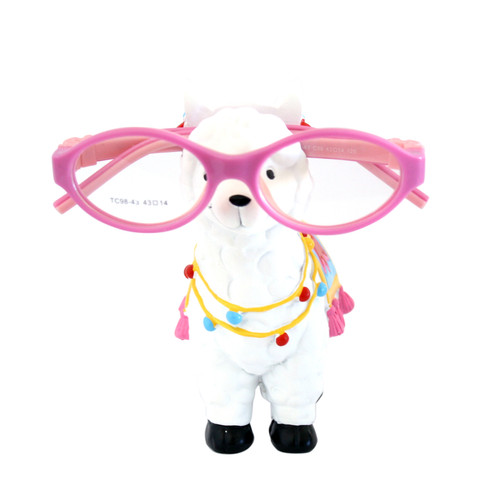 Llama glasses holder, front view with glasses