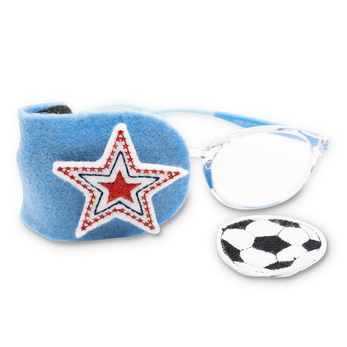 Soccer ball and star fabric eye patch