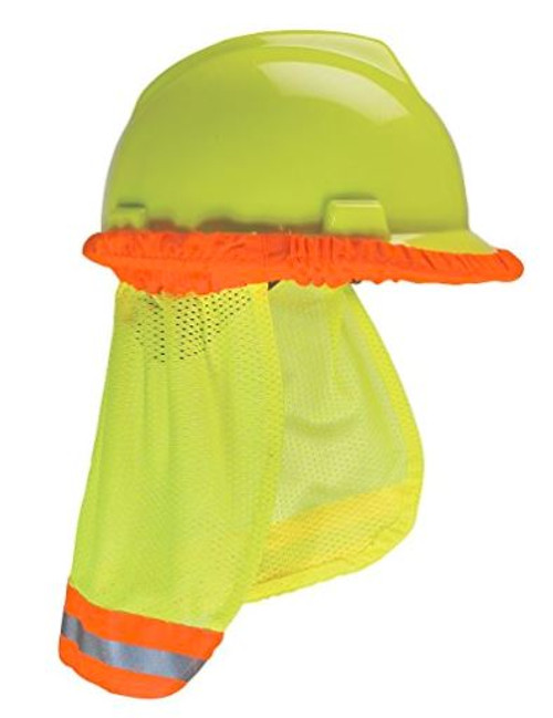 MSA 10098032 SunShade, MSA Hard hat Accessory, MSA Yellow Green Sunshade, MSA Sunshade with reflective striping, MSA 10098032, MSA 10098031, MSA Orange Sunshade, MSA 10098031 Orange SunShade with Reflective Striping