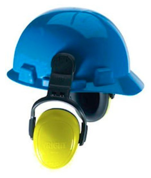 MSA 10087422, MSA left/RIGHT series Passive Hearing Protection, Helmet Mounted Earmuffs, industrial earmuff for MSA safety helmets, MSA hard hard attached passive earmuff 25dBA, MSA left/RIGHT yellow cap mounted earmuff, helmet mounted earmuffs for heavy mechanical industries, compression rooms, airports