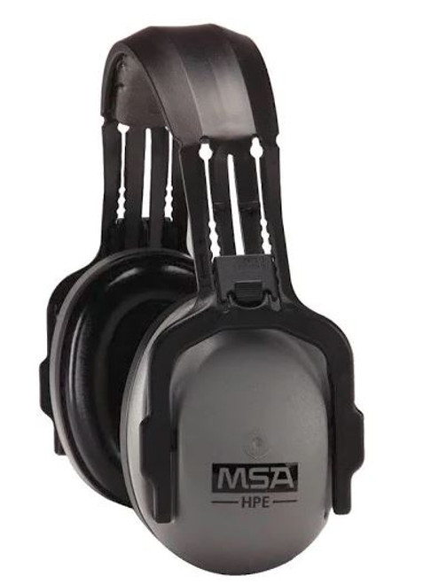 MSA Over-the-head safety earmuffs with 26 dBA, MSA SoundControl HPE 10061271 headset, Over-the-head sound control headband, MSA low profile hearing protector, MSA industrial hearing protector for high noise environment, hearing protector for airfield worksite, safety headset for power plants