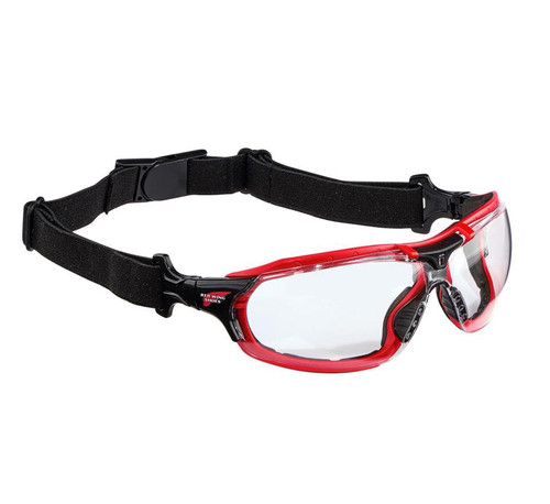 Redwing glasses wit strap on, Red Wing protective glasses with adjustable strap, safety glasses clear lens, stylish protective eyewear with clear lens, Redwing 95214, anti-fog protective eyewear, anti-fog safety glasses, lightweight, snug fit, anti scratch, UVA & UVB eyewear protection