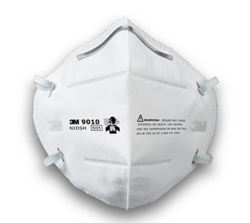 3M 9010 N95 Dust / Mist Respirator, disposable particulate respirator, disposable dust mask, foldable respirator mask, 3M respiratory protector, NIOSH approved respiratory mask