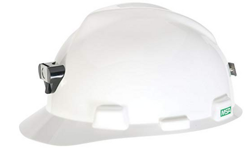 Special V-Gard Assemblies, white safety cap, safety cap with light and cord holder, V-Gard, best safety cap, safety cap with lamp, white safety helmet with accessories