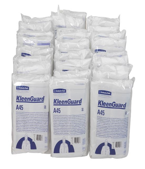Kimberly clark Kleenguard A45 breathable splash particulate protection hooded coverall, Kleenguard A45 protective clothing, Kleenguard A45 hooded coverall, kleenguard, Kleenguard breathable coverall, Kleenguard A45 breathable anti static hooded coverall, Kimberly Clark chemical splash protection coverall, Kleenguard A45 particulate protection coveralls, KLG A45 CVRALL, Kleenguard A45 disposable protective clothing, Kimberly Clark disposable chemical protective coveralls