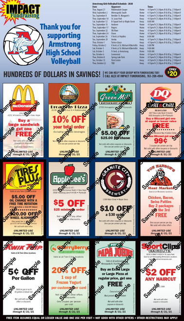 Armstrong High School Volleyball Coupon Card