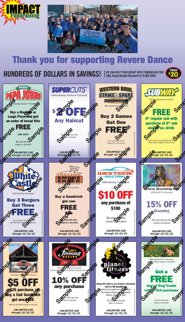 Revere Dance All Stars Coupon Card