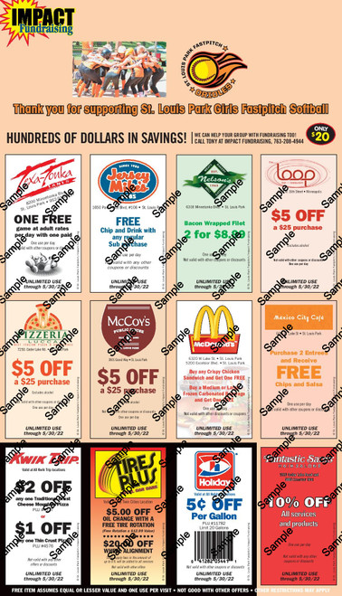 St. Louis Park Fastpitch Softball Coupon Card