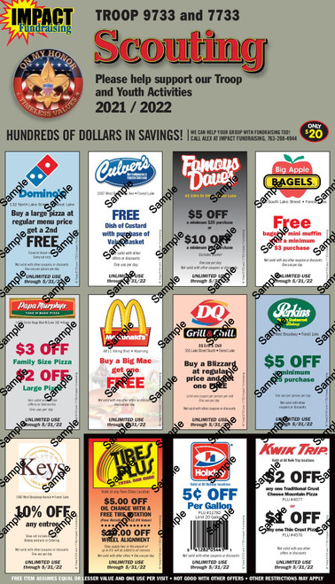 Scouting Troop 9733 and 7733 Coupon Card