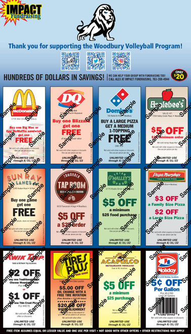 Woodbury High School Volleyball Coupon Card