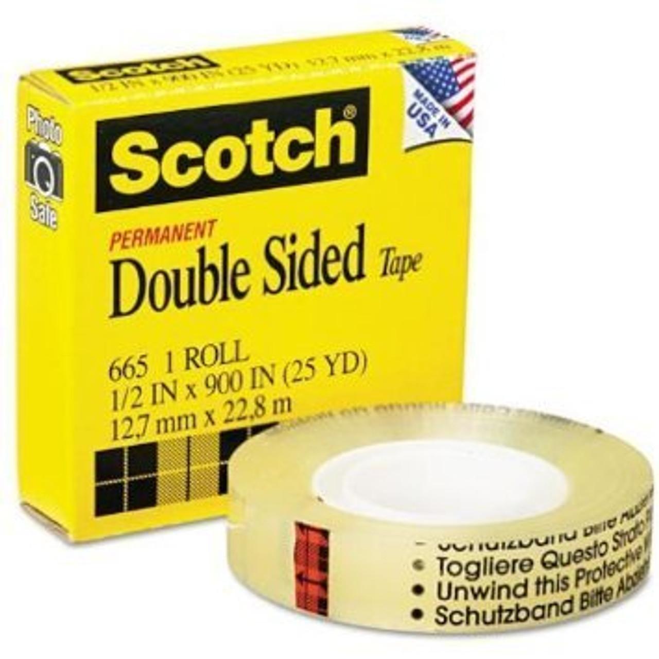 "4031 Scotch #665 Clear Double Stick Tape - 1"" x 36'"