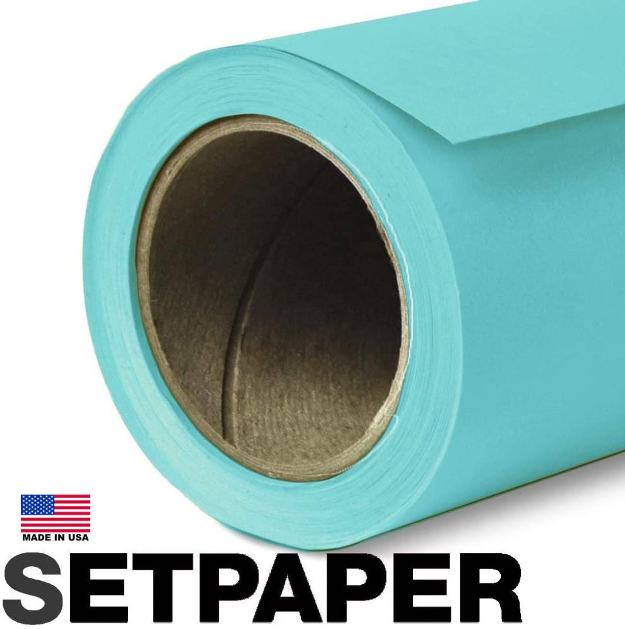"""SETPAPER - AQUA BLUE 107"""" x 36' (2.7 x 11m)"""